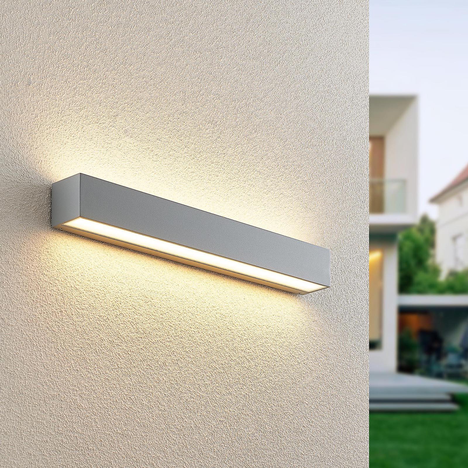 Lucande Lengo LED-væglampe, 50 cm sølv 2 lyskilder