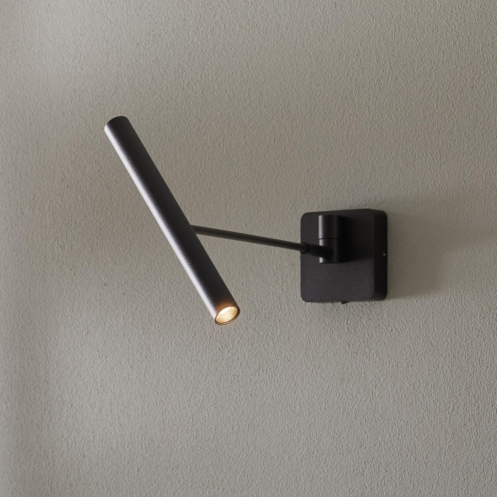 LED wandlamp Wygo dimbaar, kantelbaar, zwart