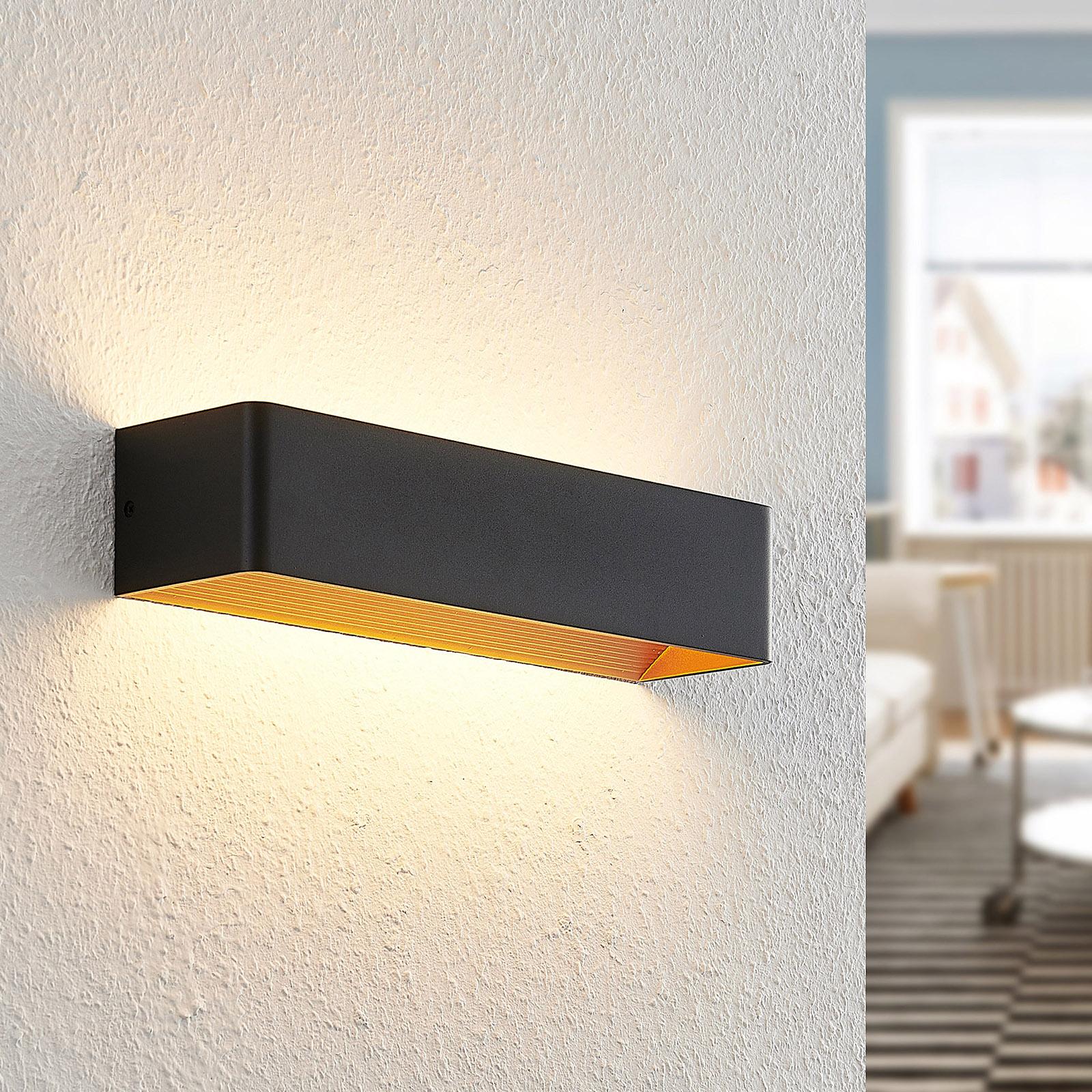 Arcchio Karam LED wandlamp, 36,5 cm, zwart