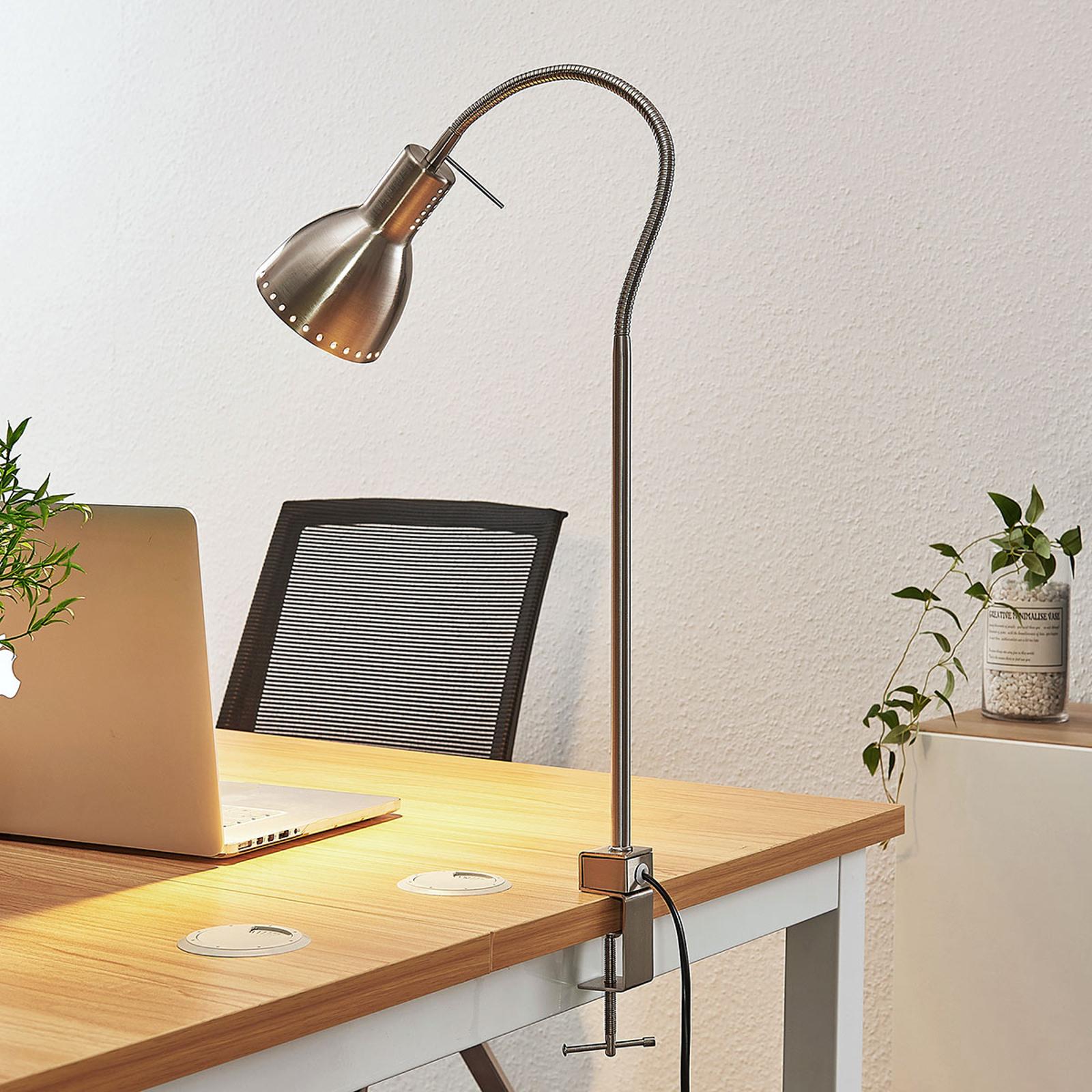 Klemlamp Triska met flexarm, gesatineerd nikkel