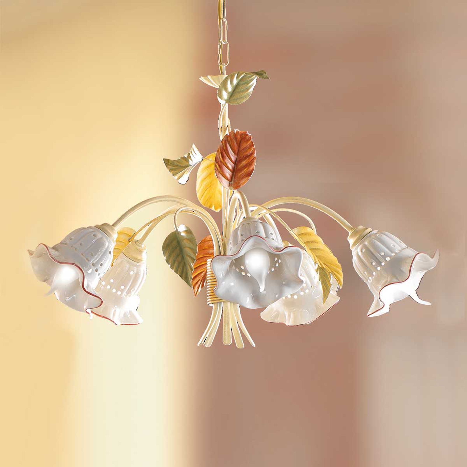 Lámpara colgante Flora, estilo florentino, 5 luces