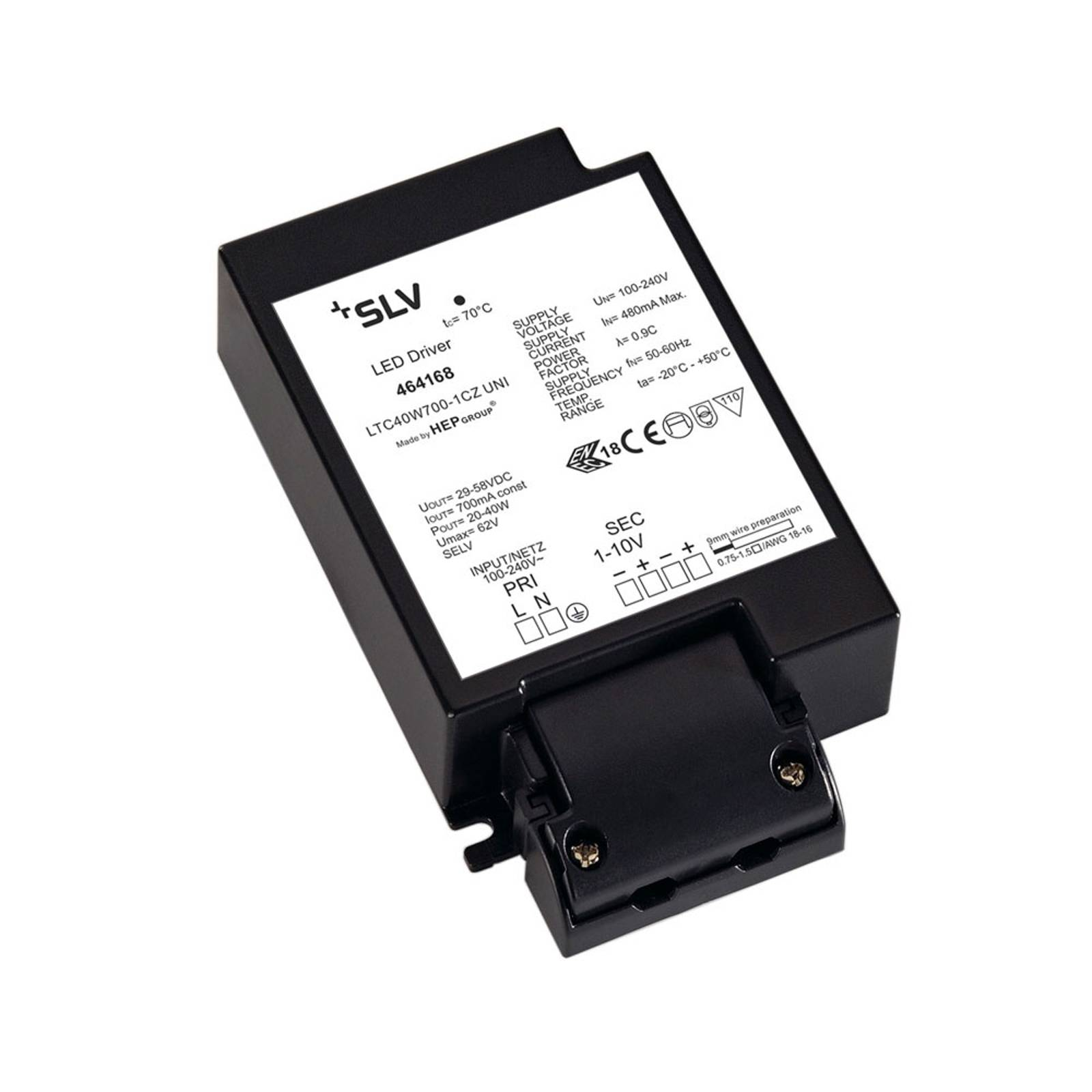 SLV driver LED 700mA/40W con pressacavi