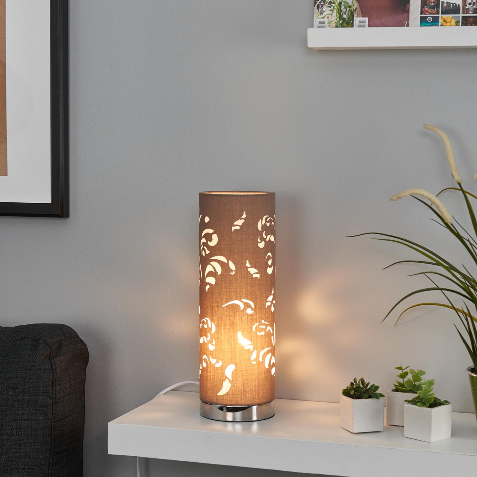 Lampe à poser Flora cappuccino avec décor