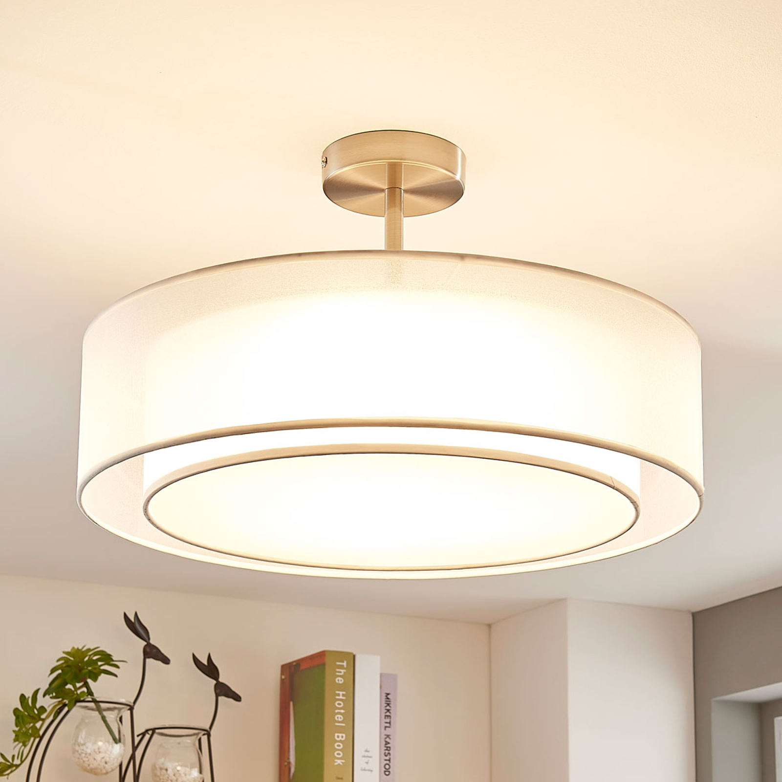 LED-taklampa Pikka, dimbar i 3 steg, vit