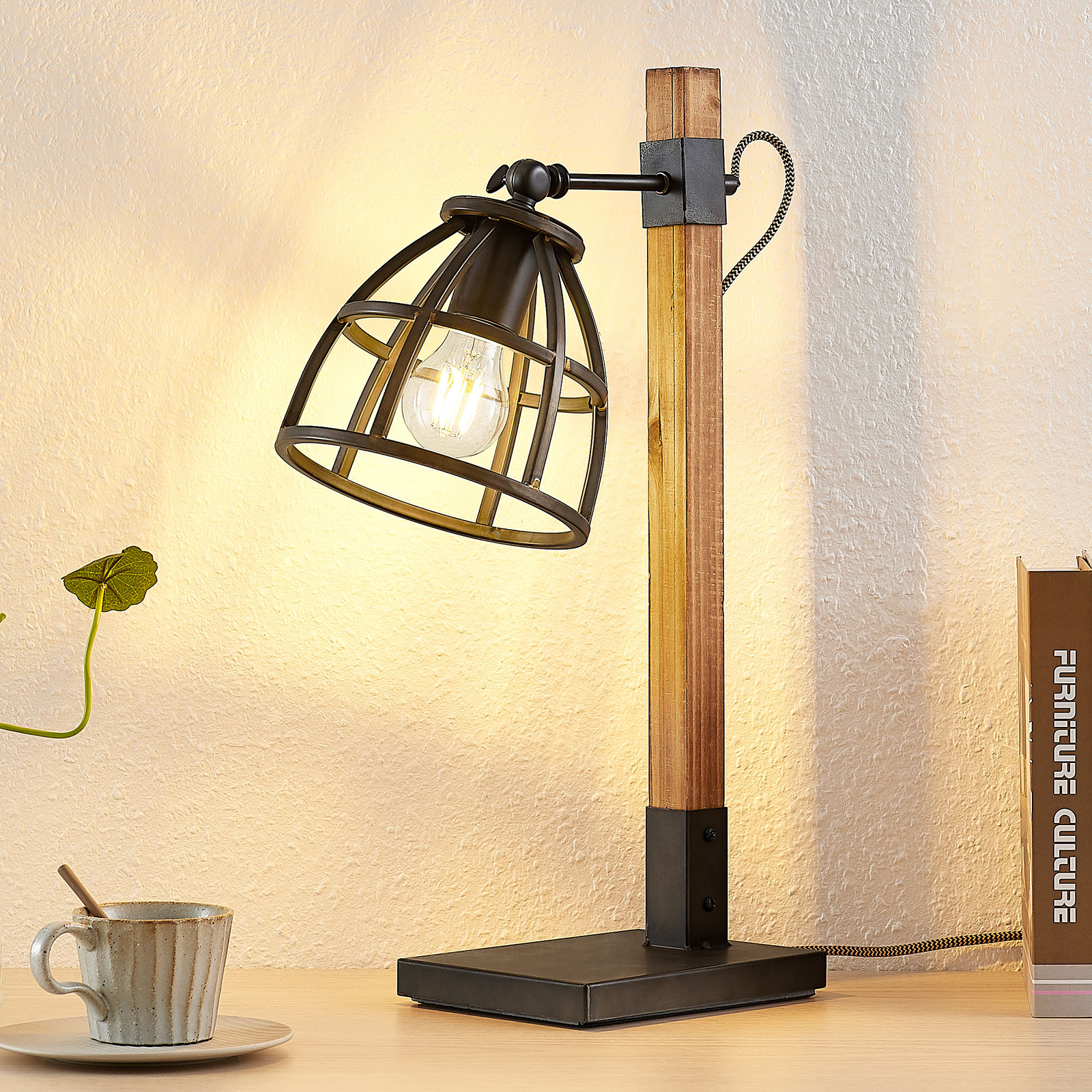 Lindby Tanina lampe à poser avec abat-jour cage