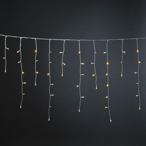 IJsregengordijn Glimmer amber LEDs deels glimmend