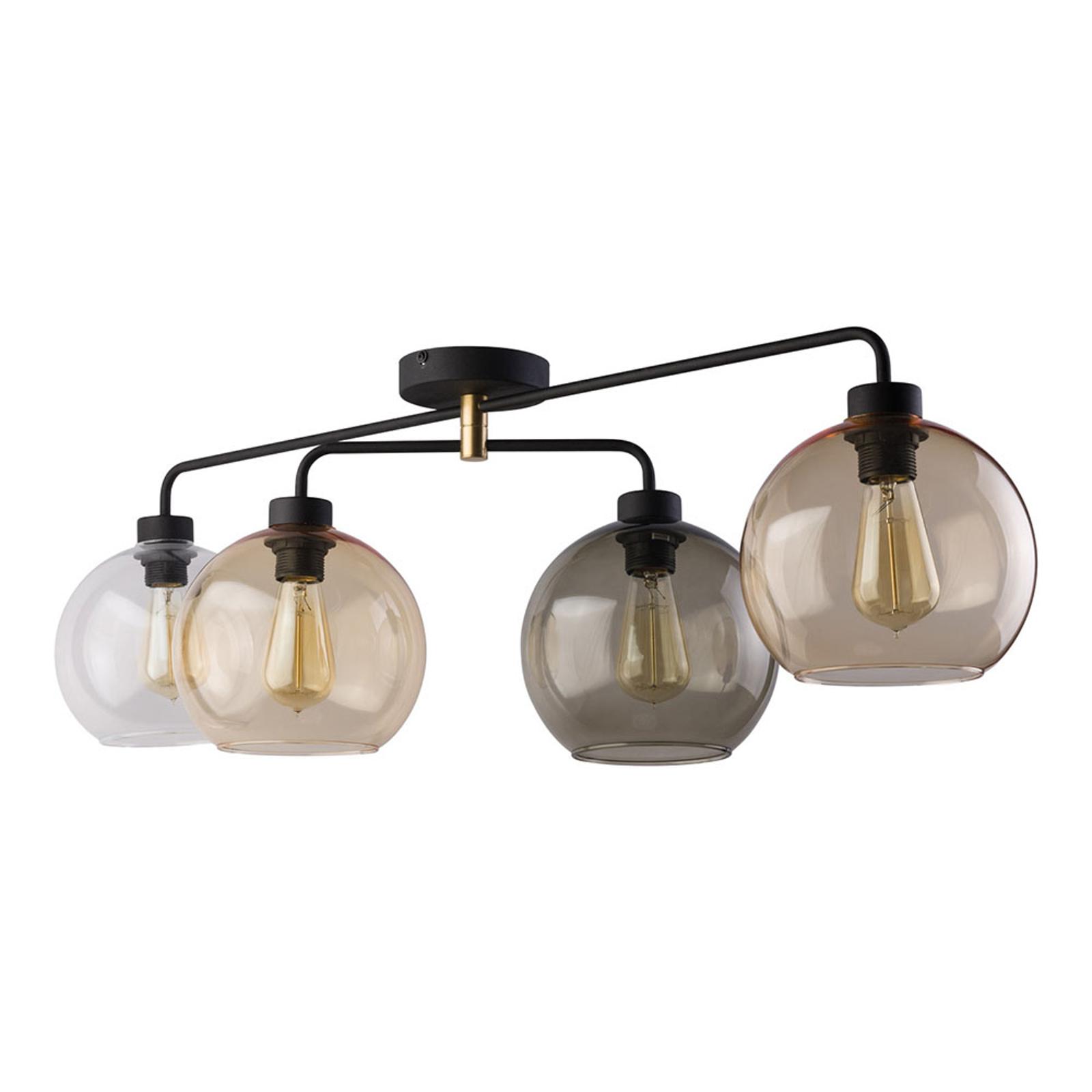 Plafonnier Cubus à 4 lampes transparent/ambre/gris