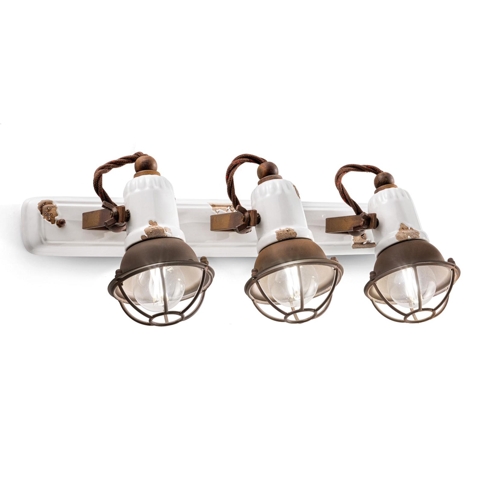 Applique C1677/1 avec corbeille, 3lampes, blanc