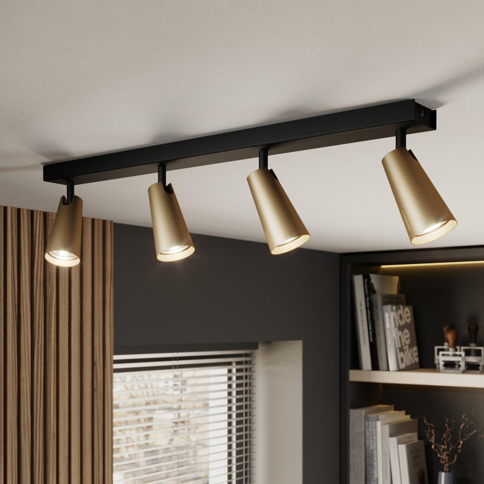 Lucande Angelina lámpara techo latón-oro 4 luces
