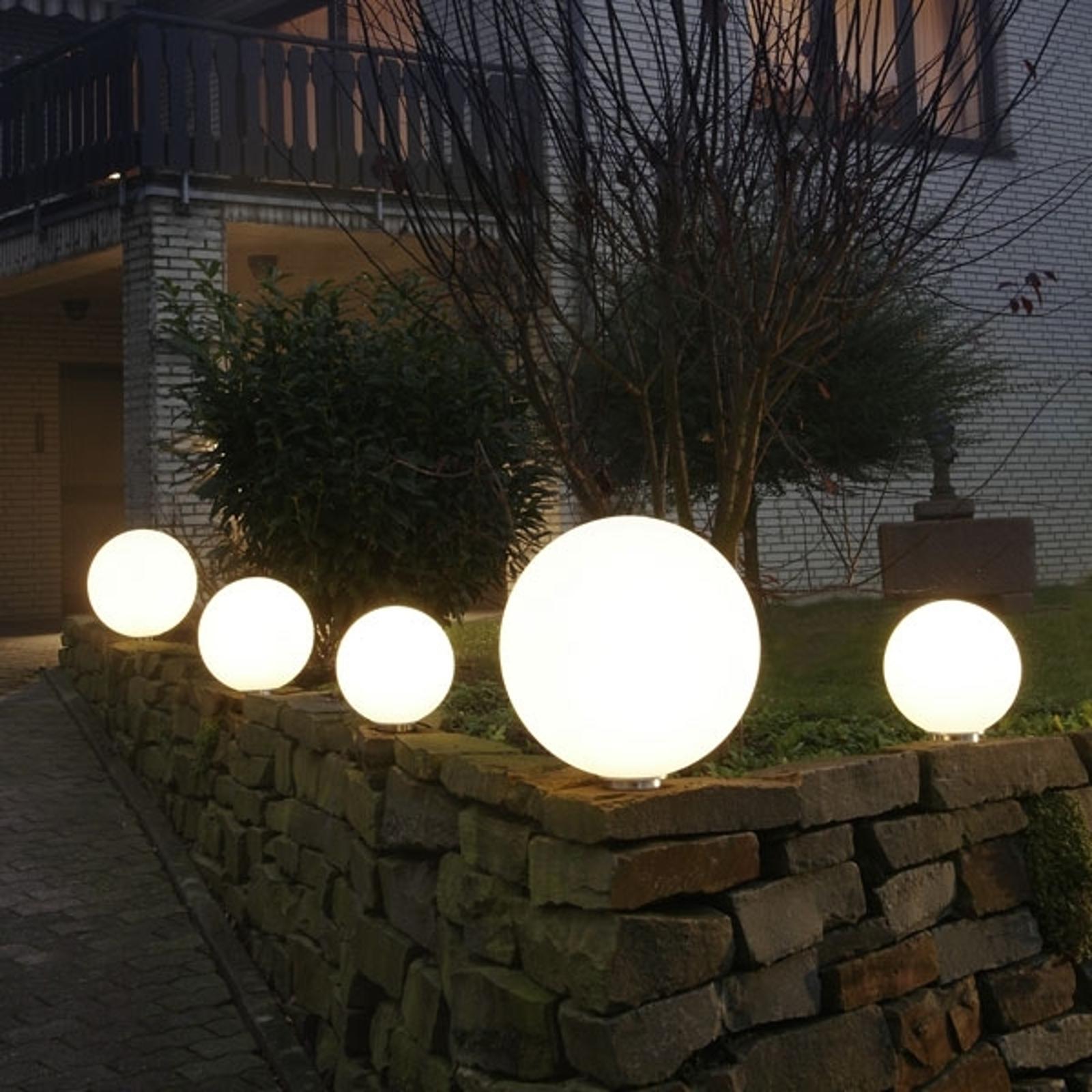 Hvit Snowball kulelampe med aluminiumsfot 30 cm