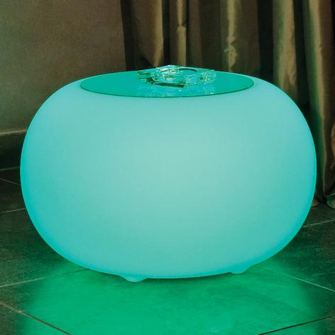 Bubble LED ACCU Outdoor mesa, placa de vidrio