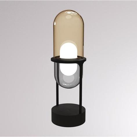LOUM Pille LED tafellamp van glas en steen