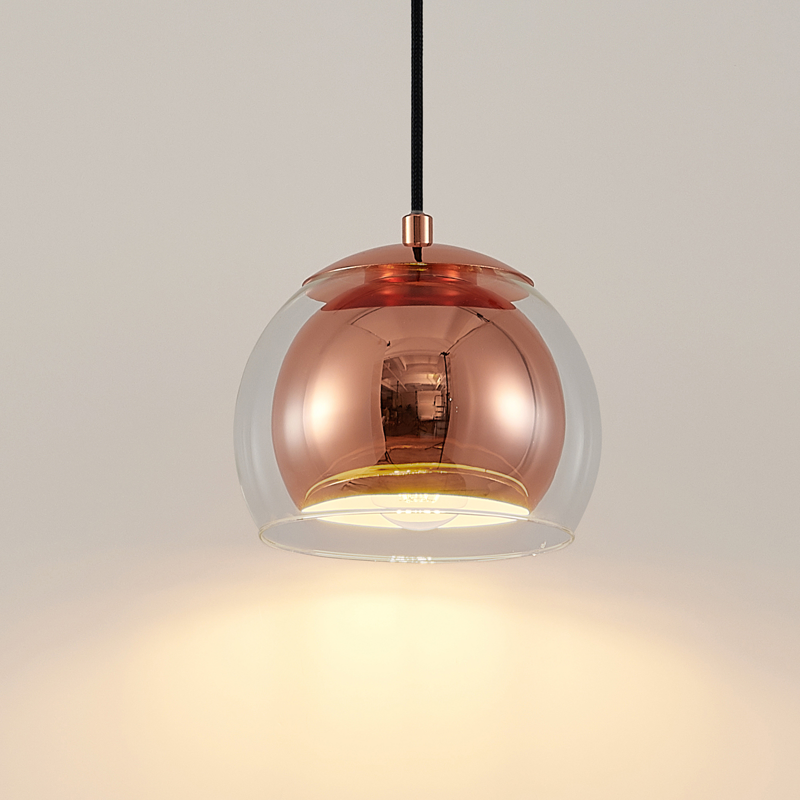 Lindby Daymien sospensione, 1 luce, rame