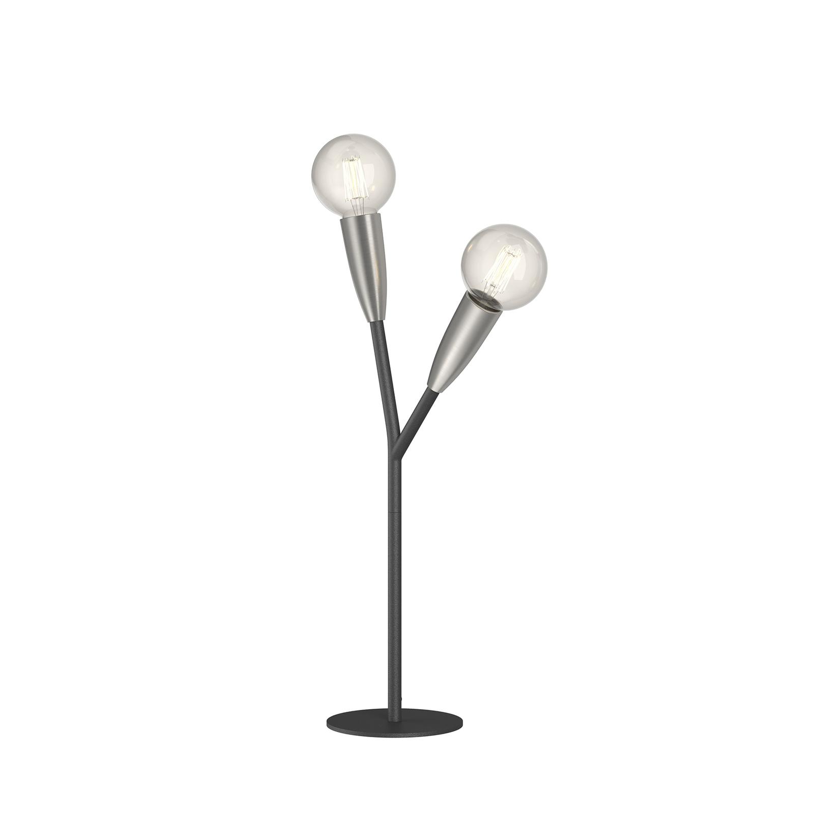Lucande Carlea Tischlampe, 2-fl., schwarz-nickel