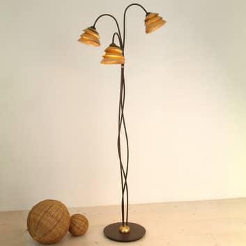 Imponerende SNAIL stålampe med tre lys brun gull
