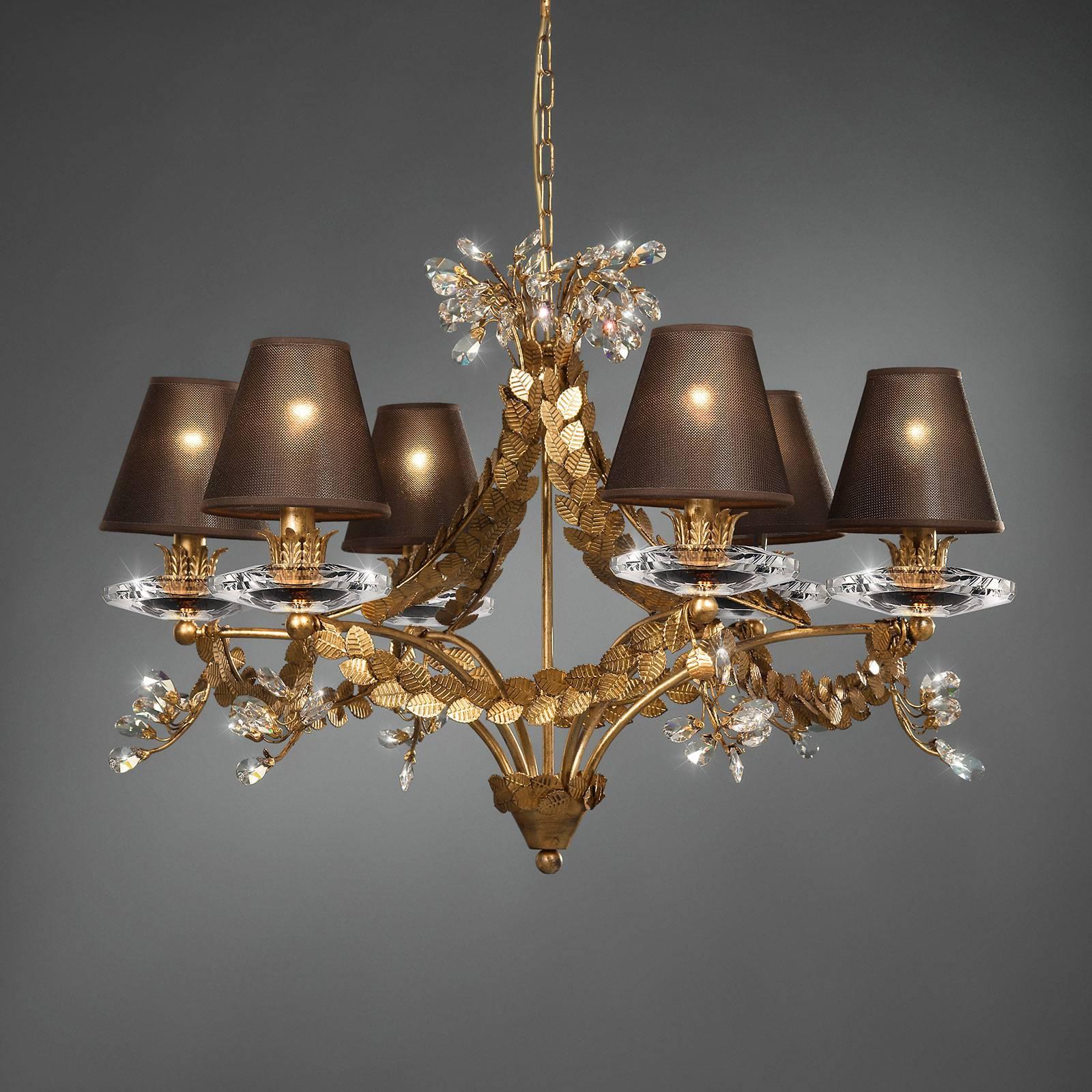 FOGLIAME - elegancki żyrandol ze złotem płatkowym