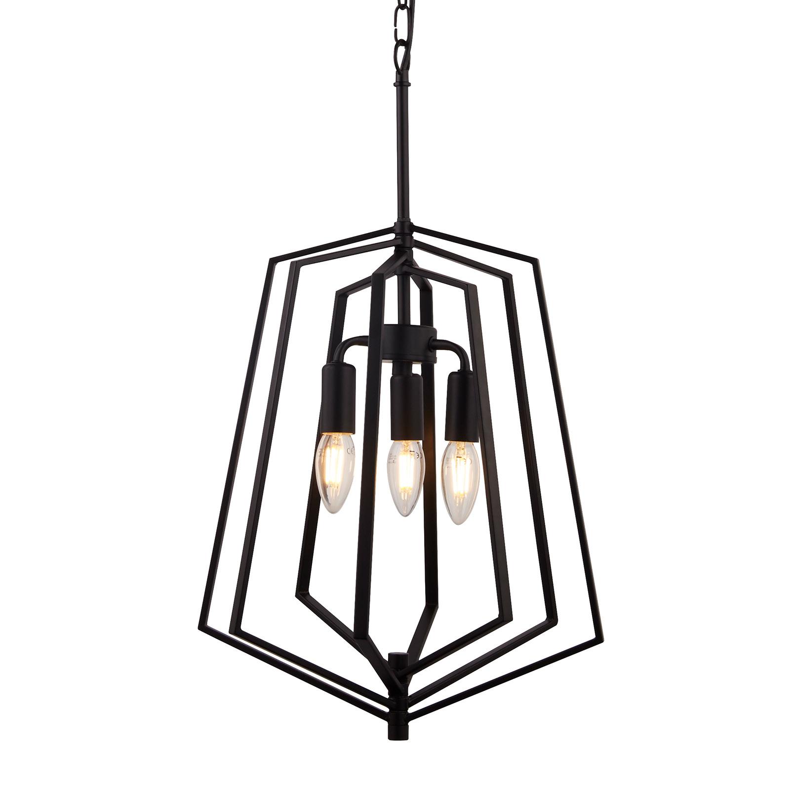 Hanglamp Slinky, 3-lamps, zwart, Ø 35 cm