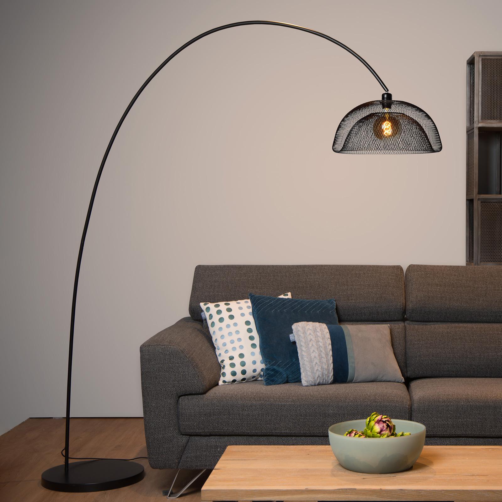 Lampadaire Mesh, noir, lampadaire arqué