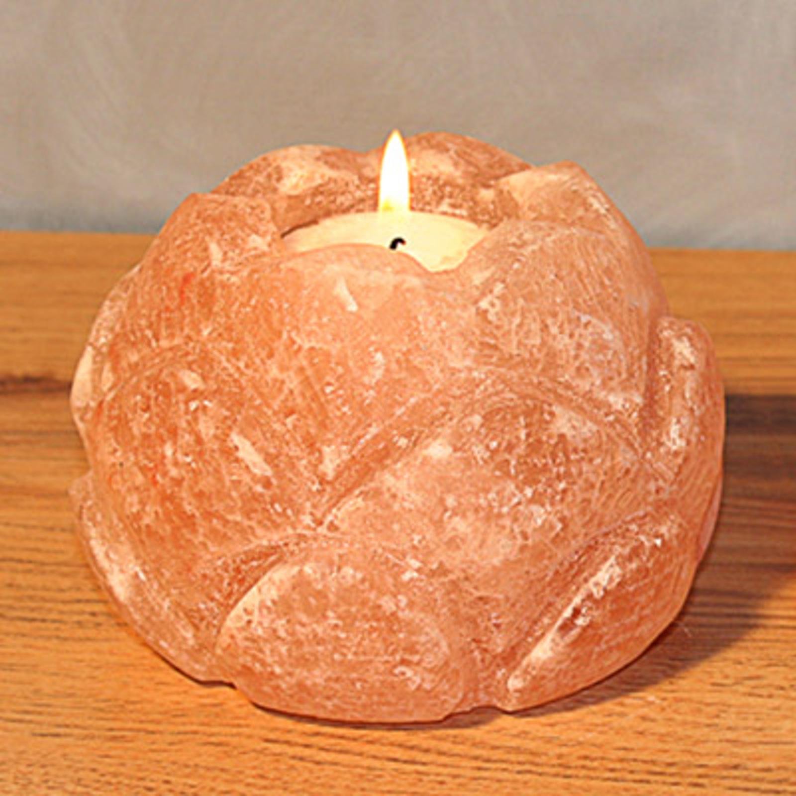 Lotusblüte Teelichthalter aus Salzkristall