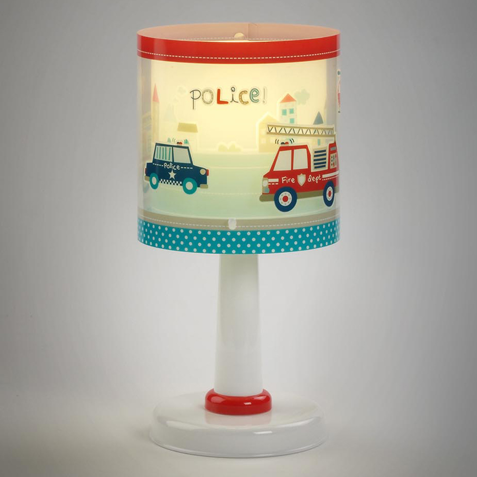 Barnbordslampa Police med motiv
