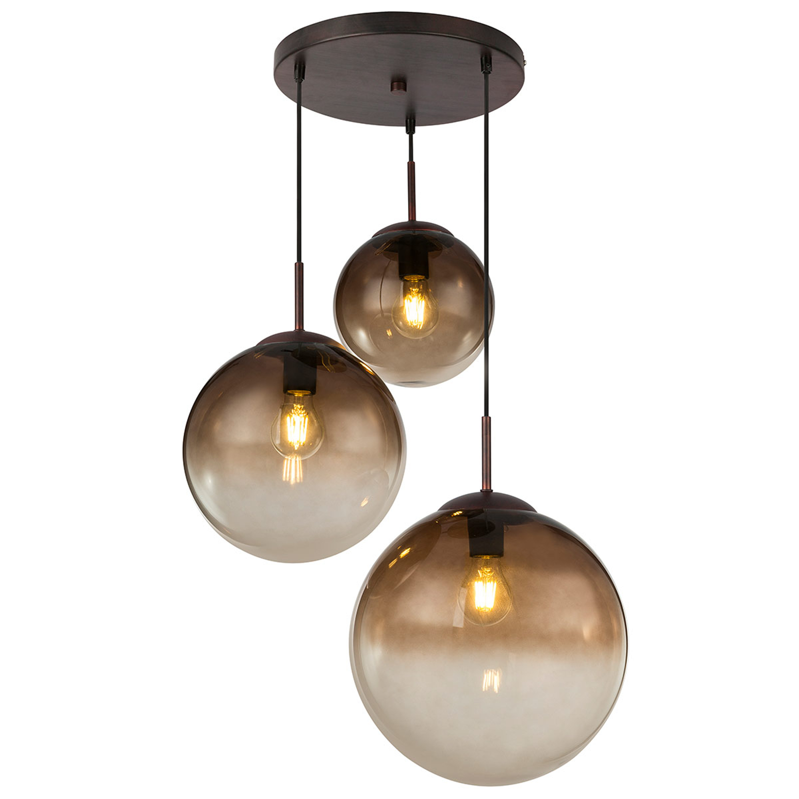 Suspension verre Varus ambre 3 lampes Ø 51cm