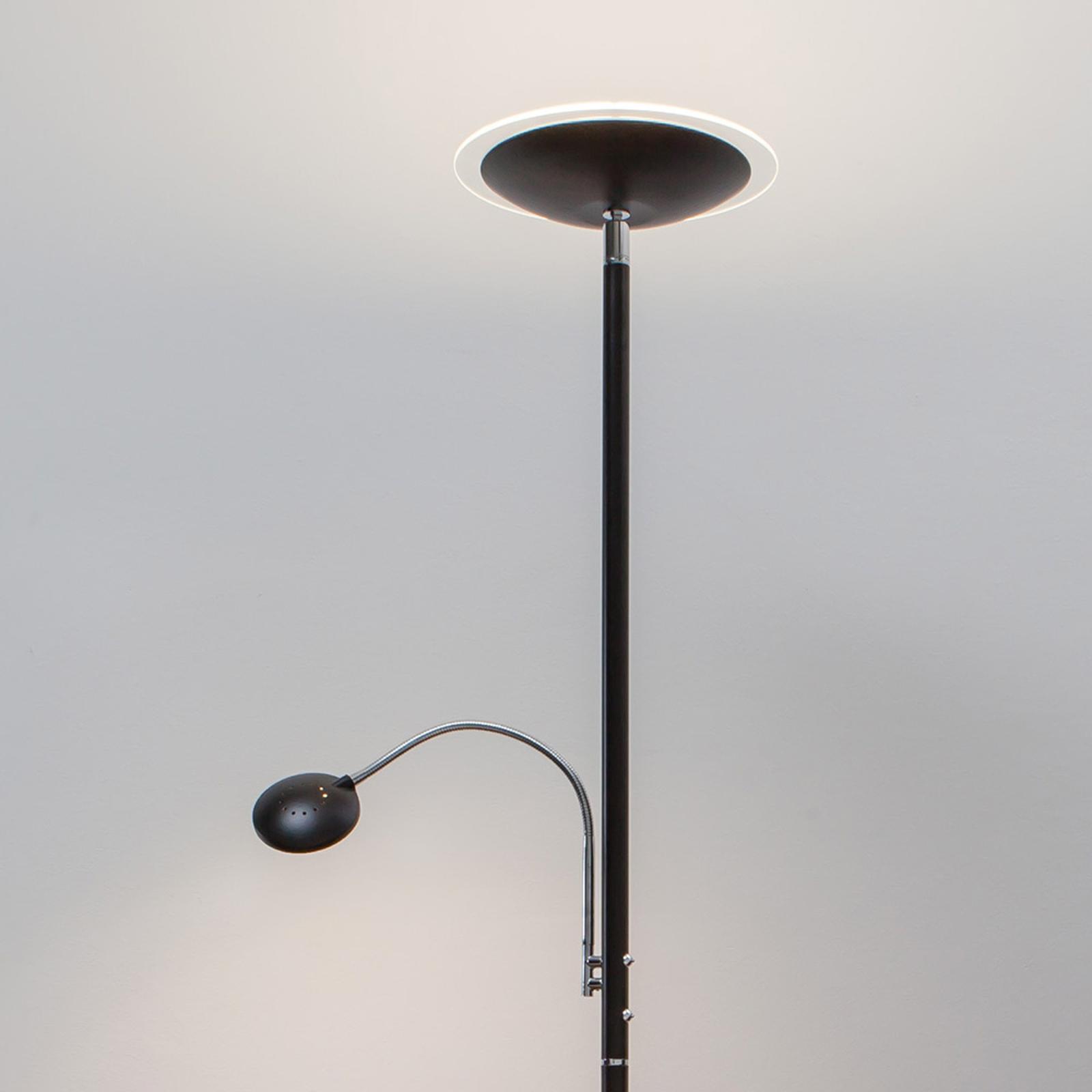 LED-uplight lampe Malea med lesearm, svart