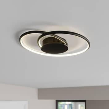 Lindby Joline LED plafondlamp, zwart, 45 cm