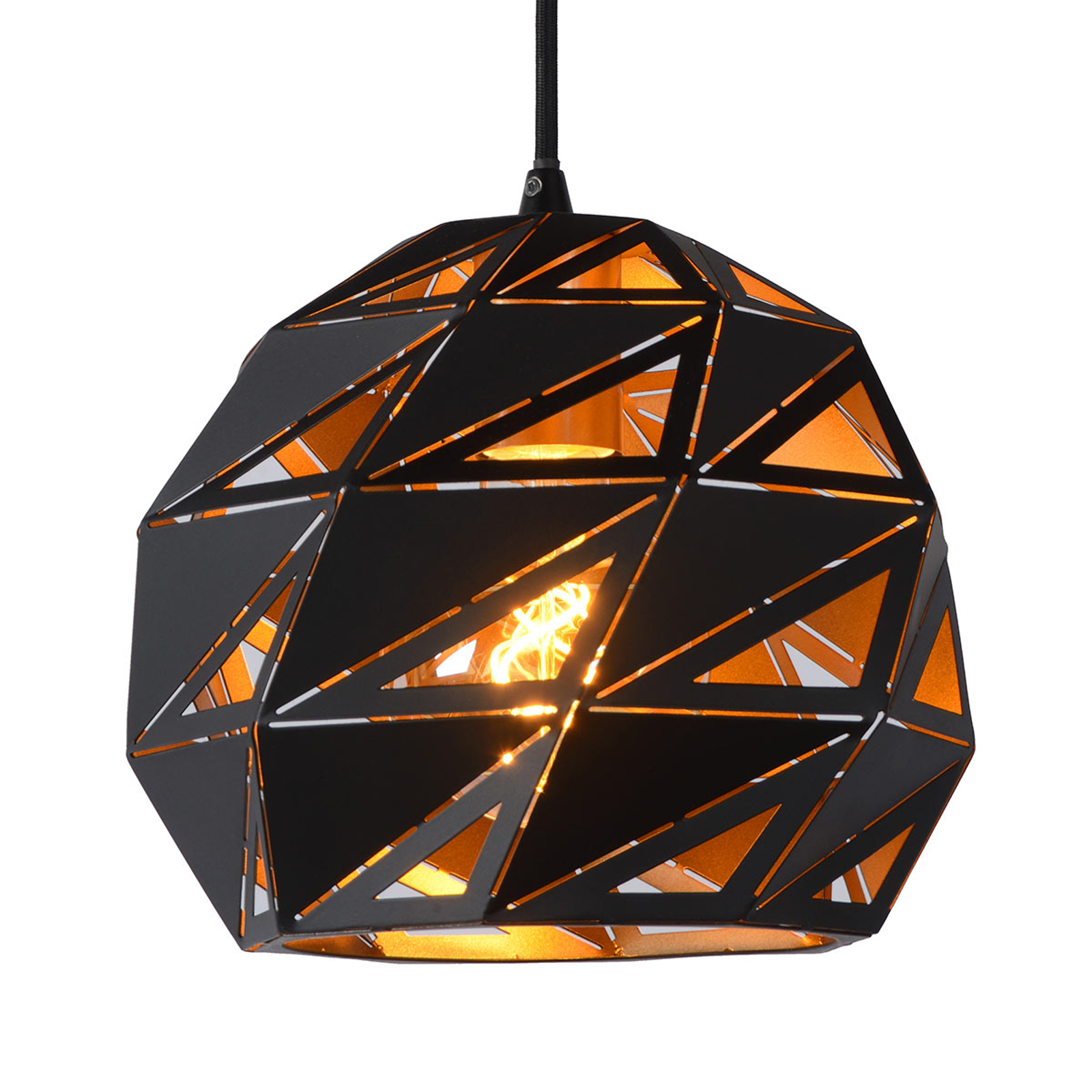 Lampa wisząca Malunga, czarno-złota
