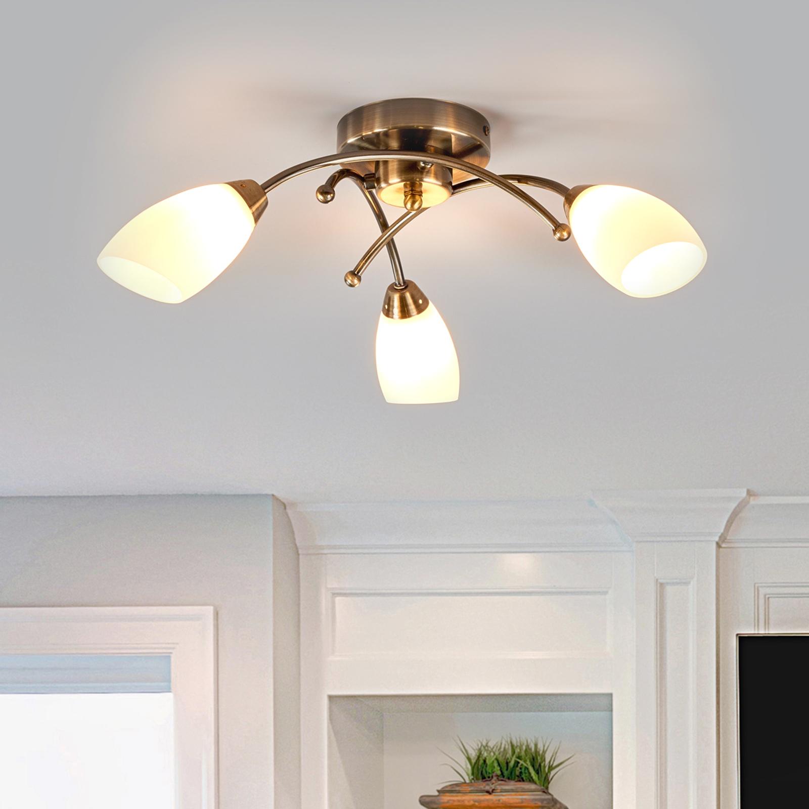 Wspaniała lampa sufitowa OPERA 3-punktowa mosiądz