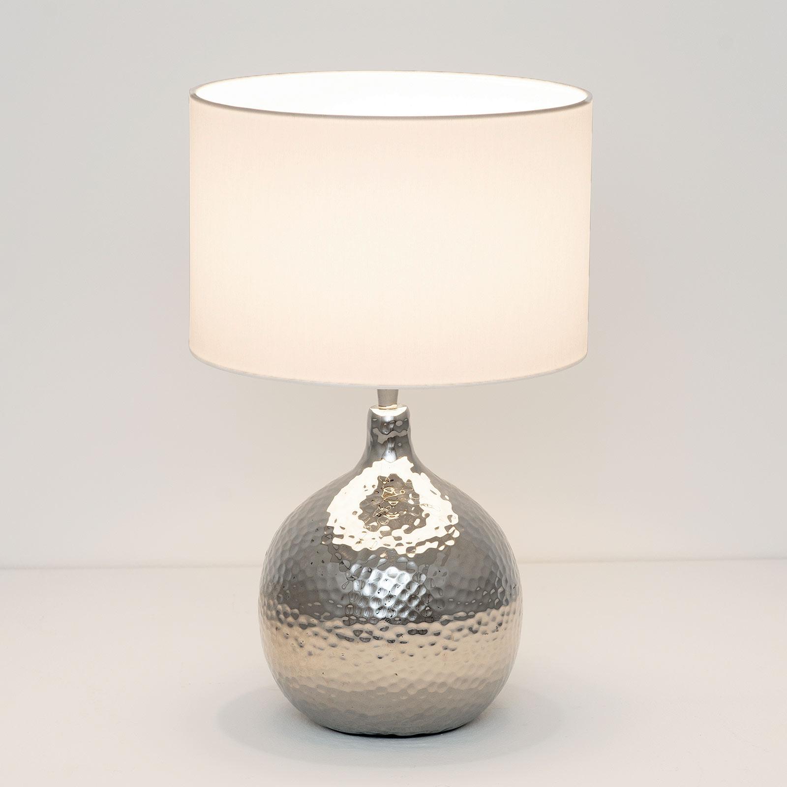 Lampada da tavolo Ananas, bianca/argento