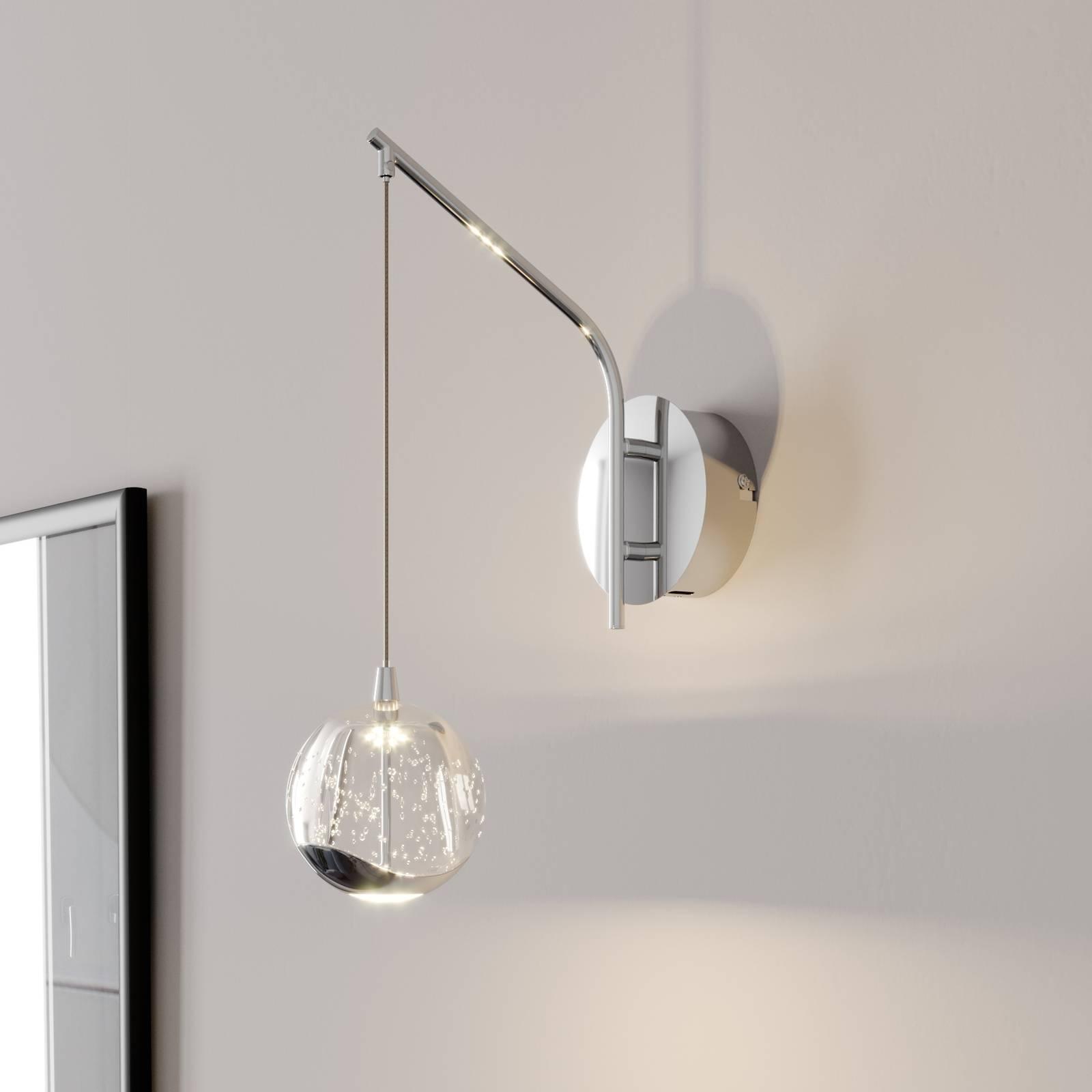 LED wandlamp Hayley m. hangende bol, chroom