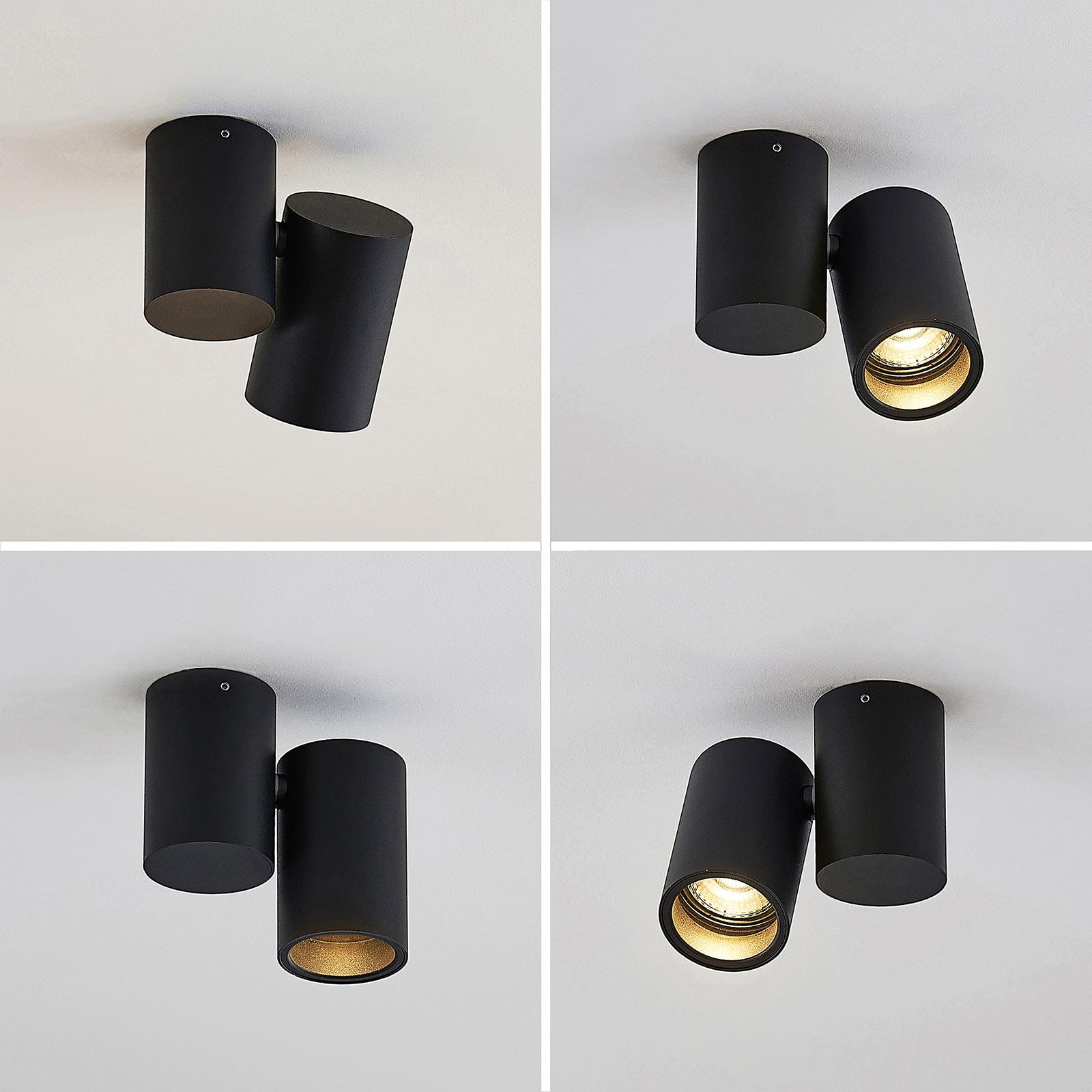 Plafonnier Gesina, 1lampe, noir