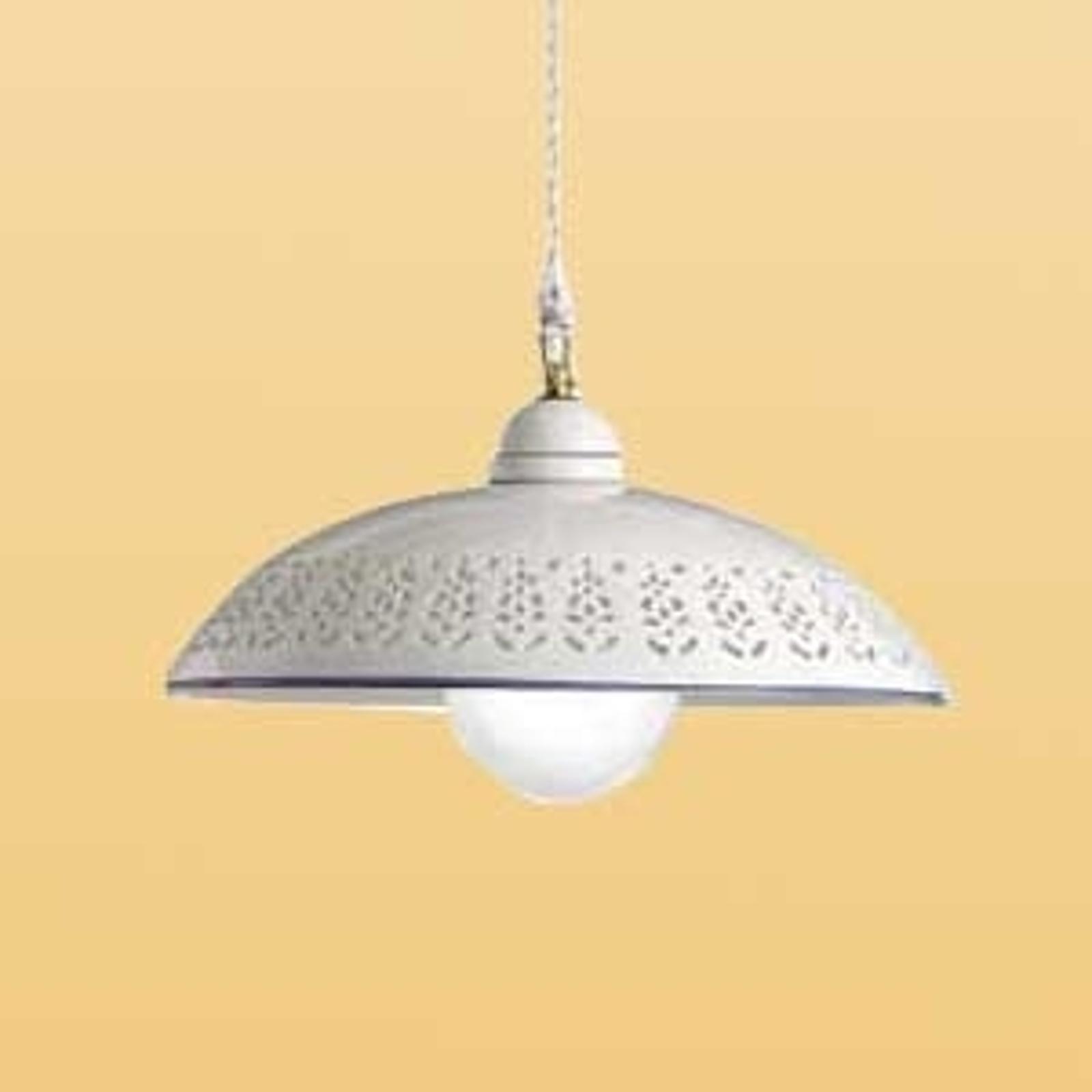 Bílé závěsné světlo SFILATA z keramiky