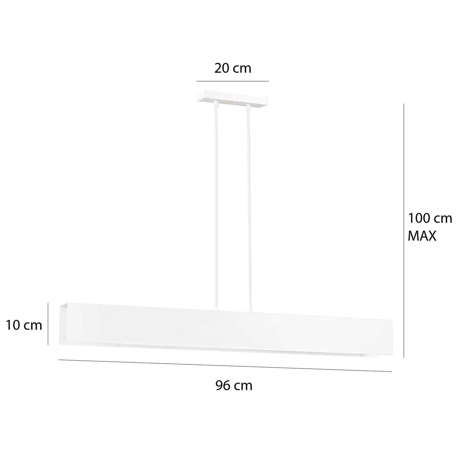 Hanglamp Gentor 4, lengte 96 cm in wit