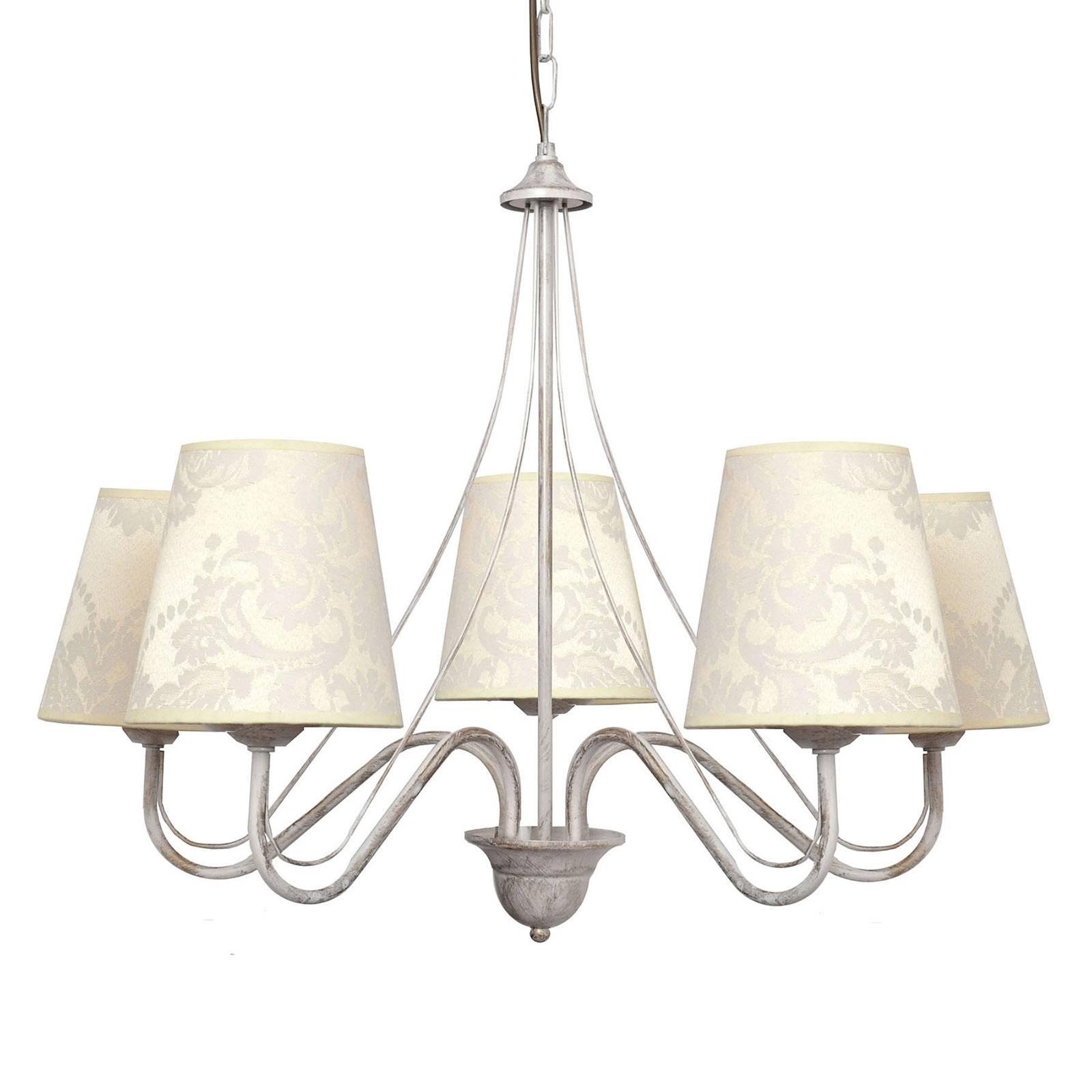 Kroonluchter Malbo 5-lamps wit met textielkappen