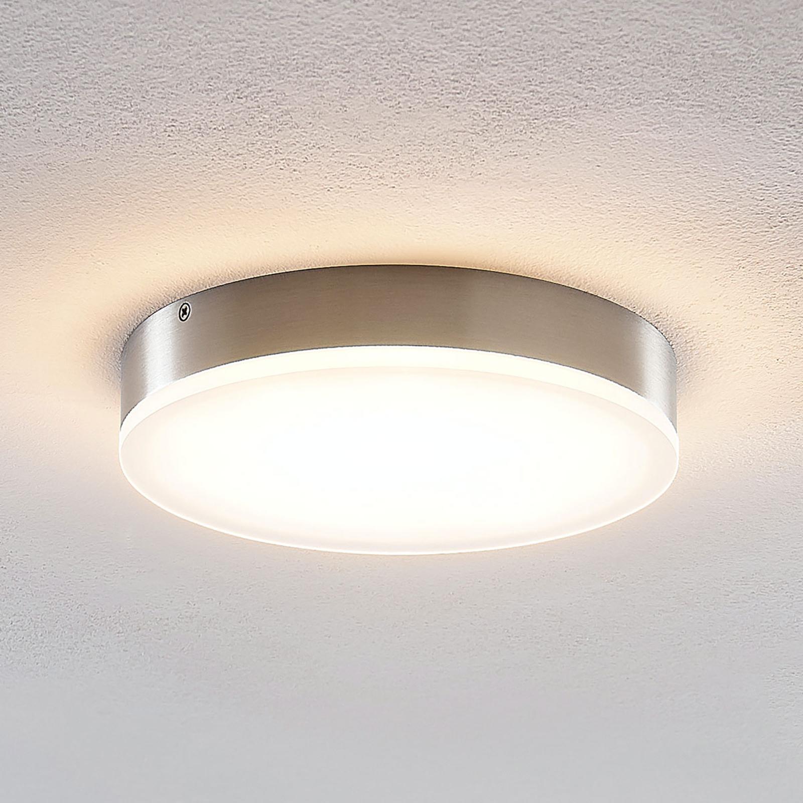 Lindby Leonta LED plafondlamp, nikkel, Ø 20 cm