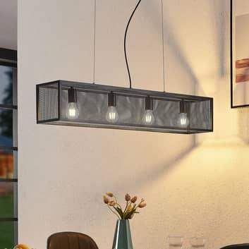 Lindby Adoney hængelampe, stål, sort, 4 lyskilder