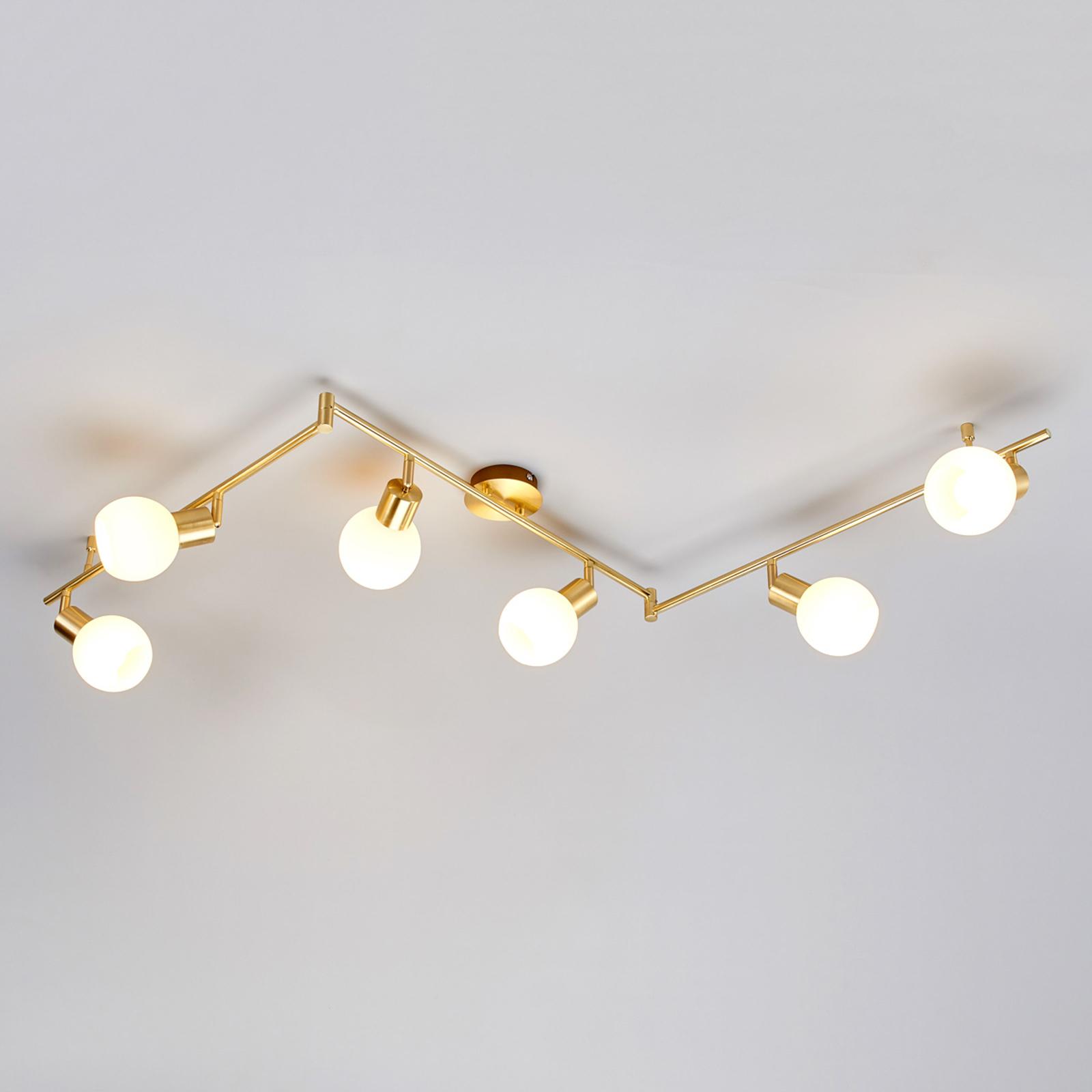 Plafonnier LED Elaina à 6 lampes, laiton