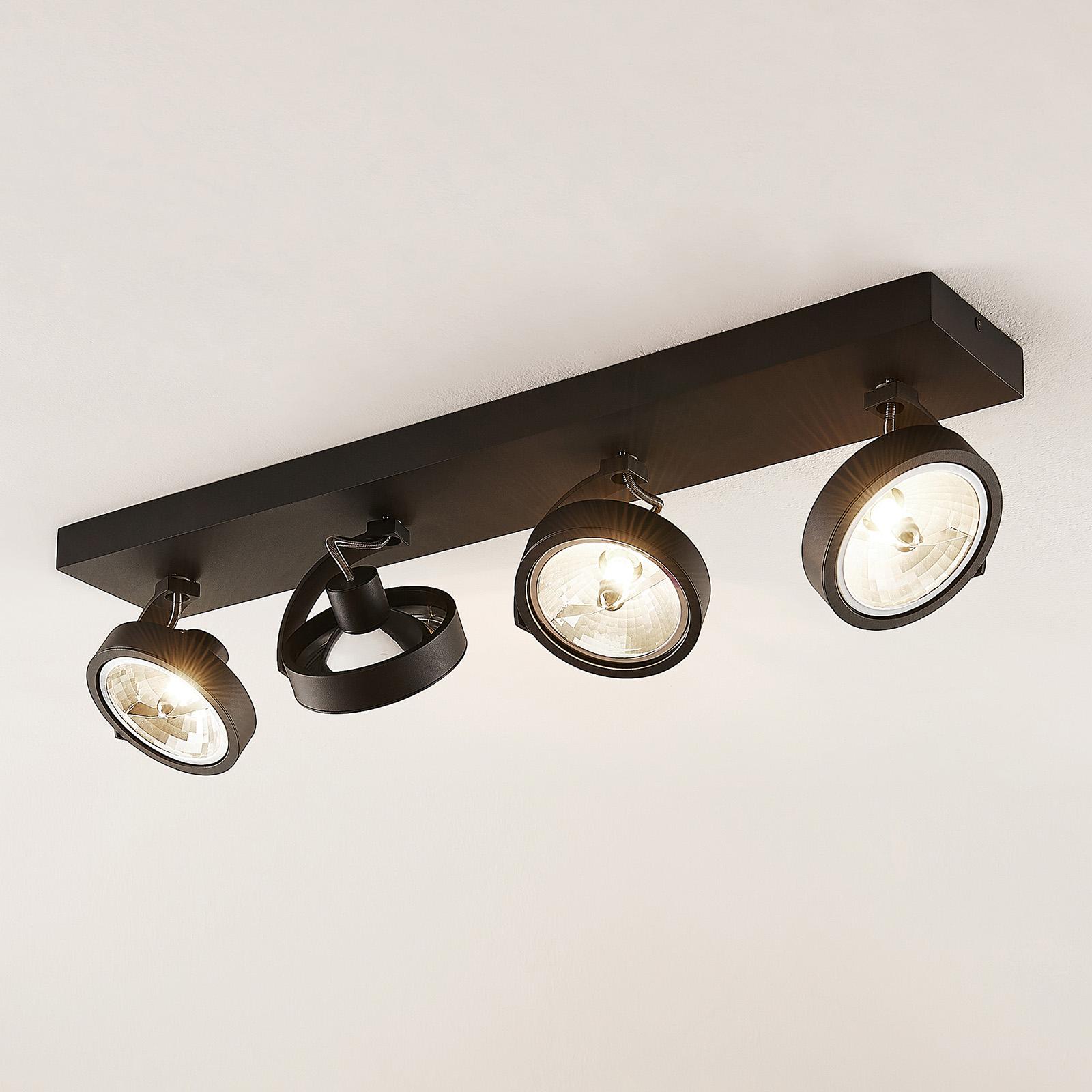 Arcchio Dagur plafondlamp 4-lamps, zwart