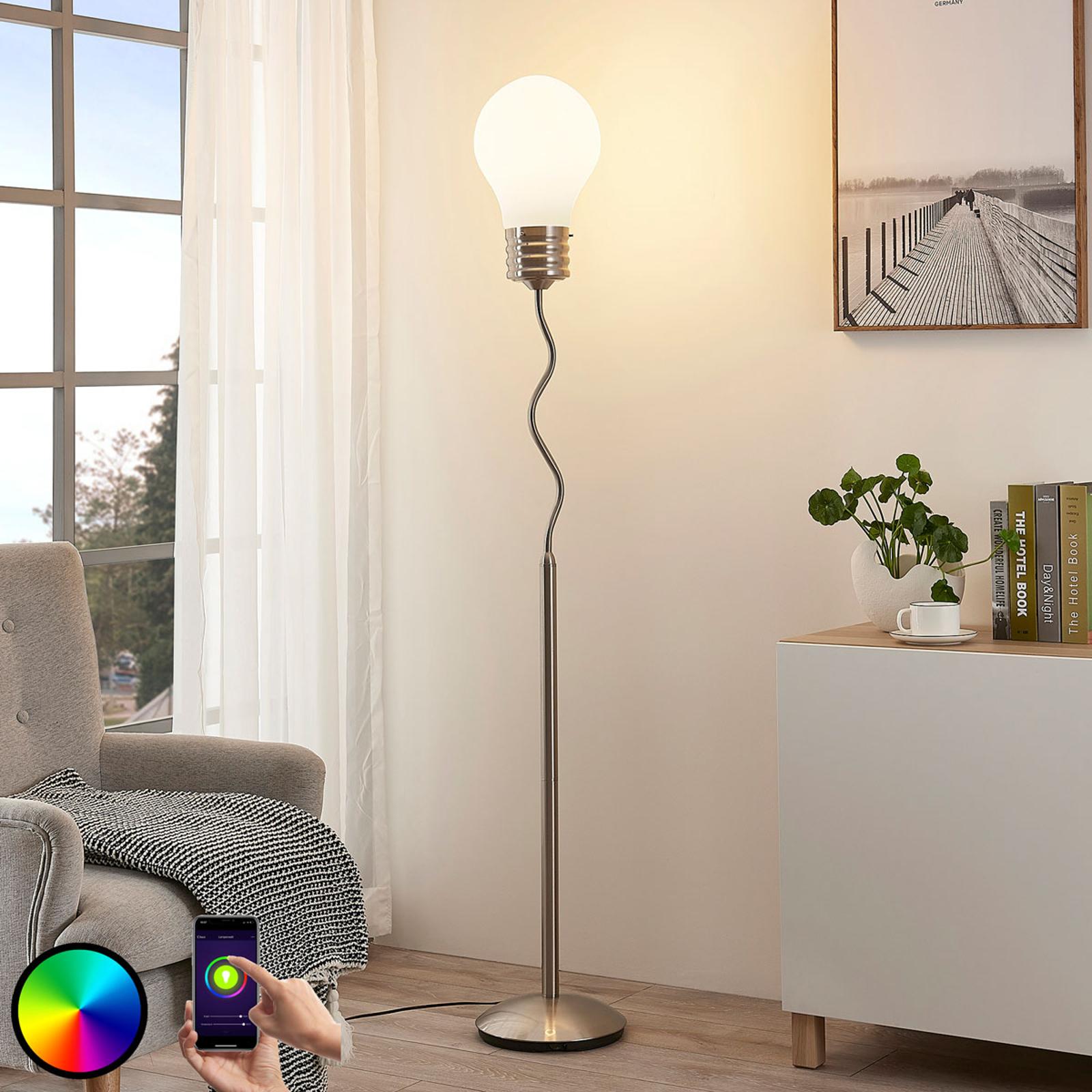 Lampada da pavimento Mena, RGB, comando via app
