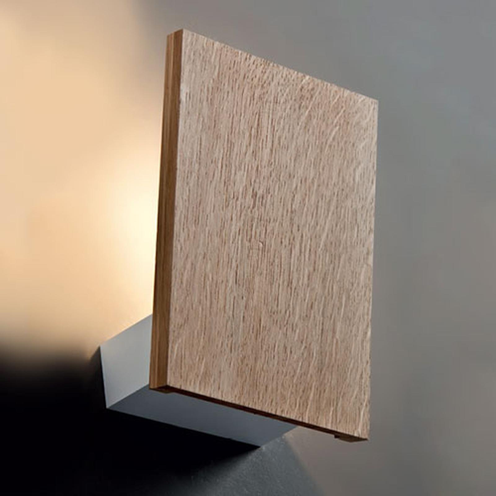 Trä-vägglampa Flat med LED
