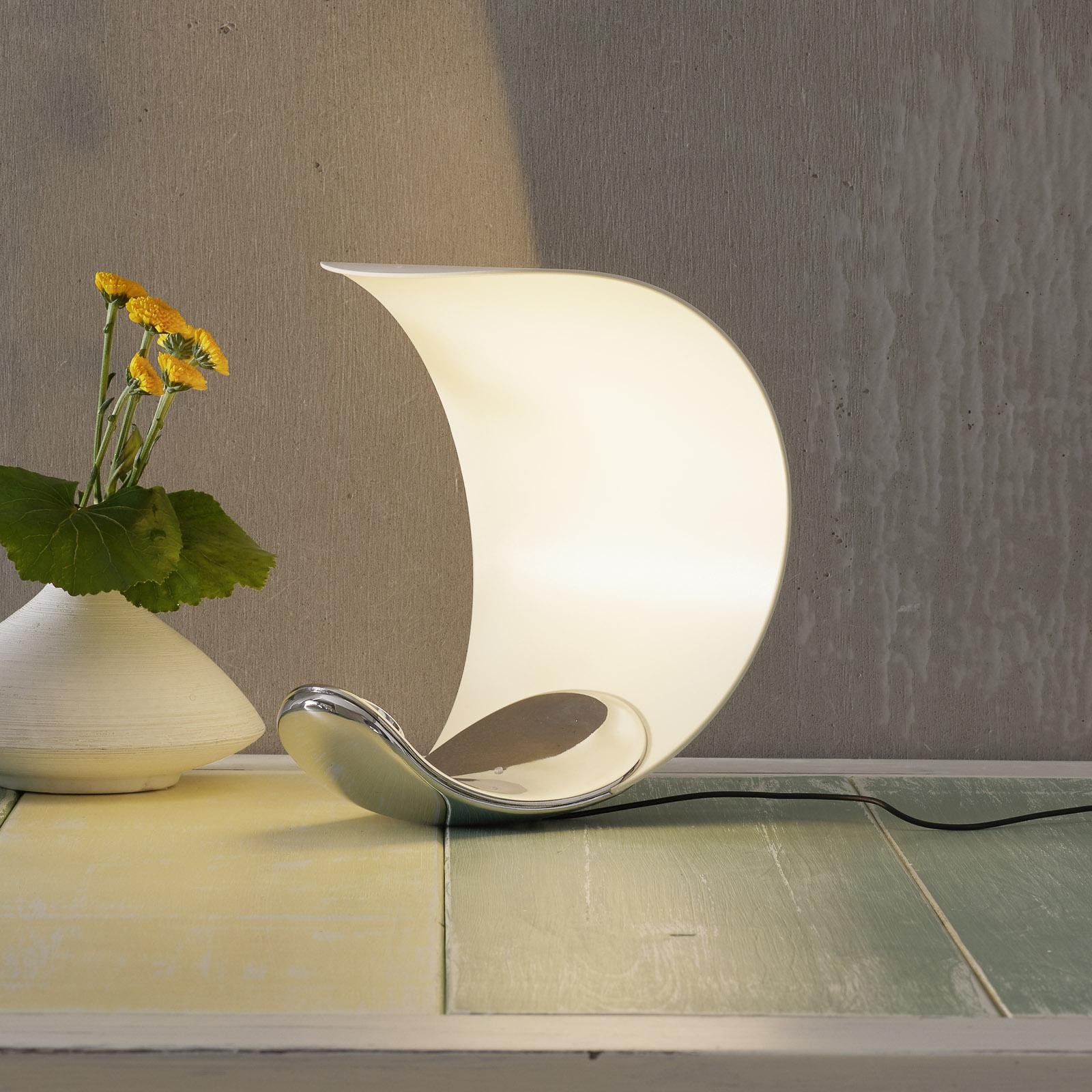 Design-tafellamp Curl wit/gespiegeld