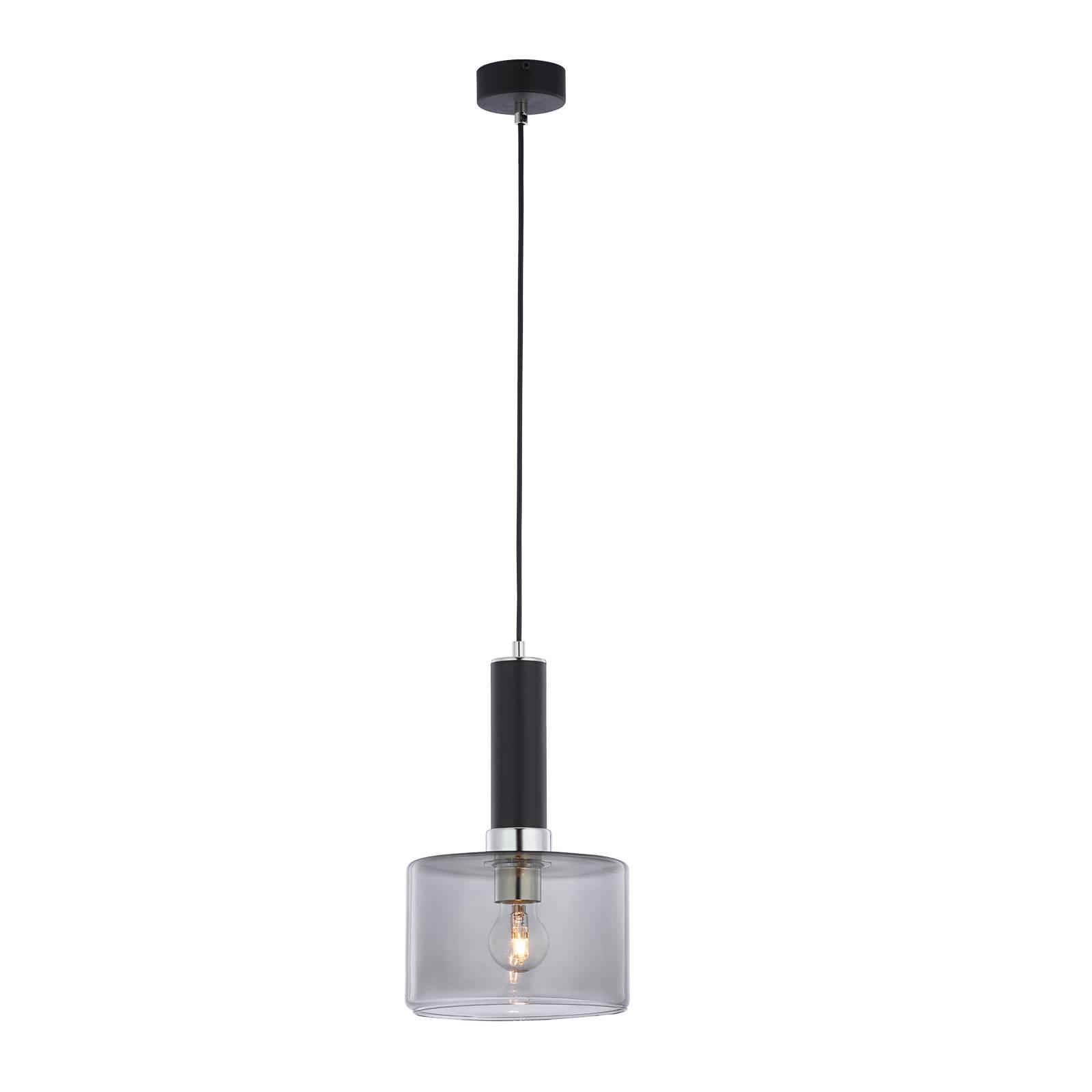 Suspension Viva, fumée/noire/chromée, à 1 lampe