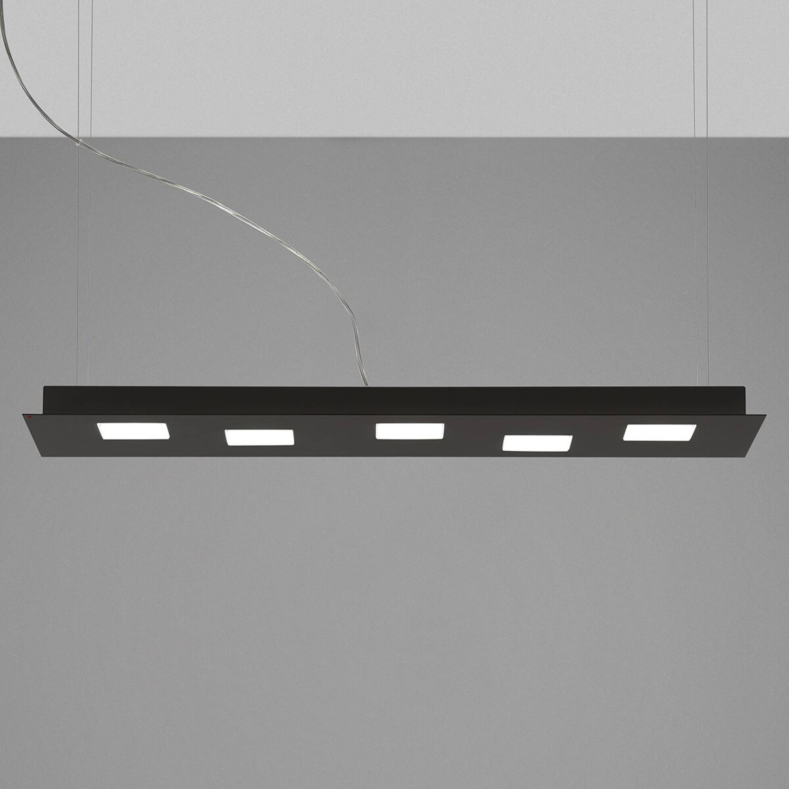 Fabbian Quarter - schwarze LED-Hängeleuchte 5flg.