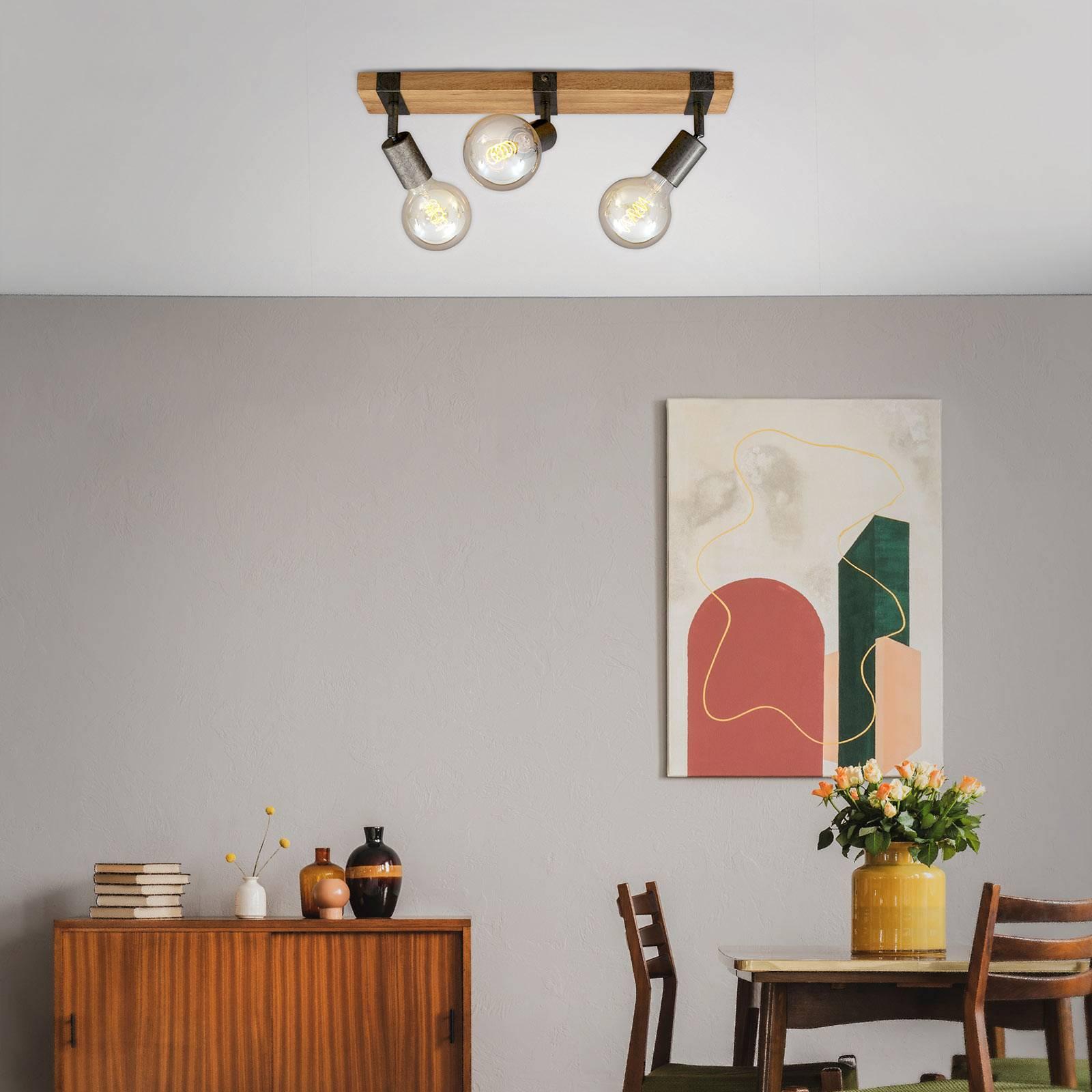 Plafondlamp Wood Basic, 3-lamps