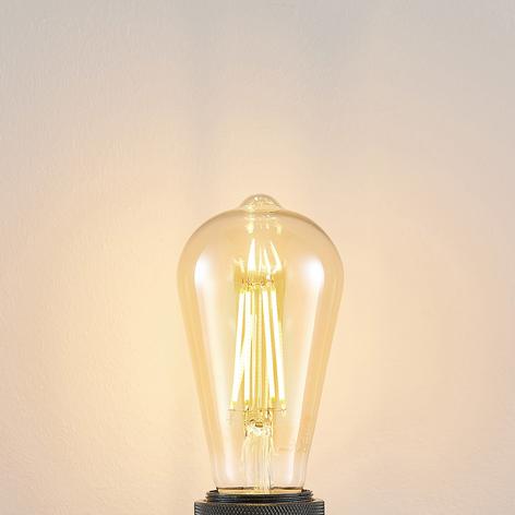 E27 LED-pære ST64 6,5 W 2.500K ravgul 3-trinsdæmp.