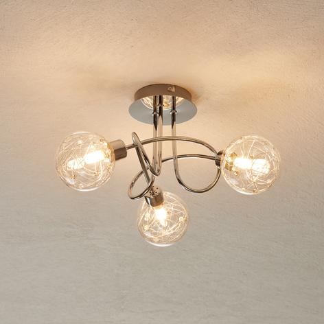 Joya - lampada da soffitto a tre luci in vetro