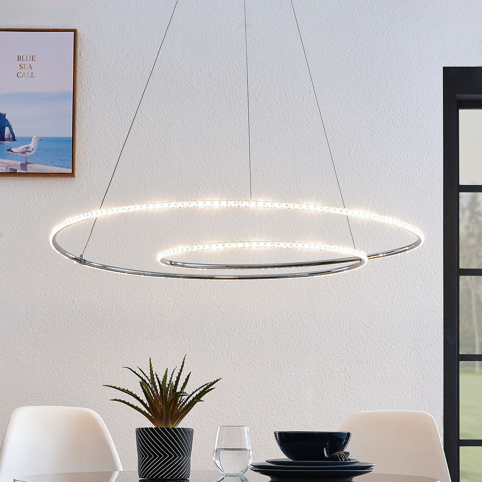 Lindby Lucy suspension LED, 90cm, cristal