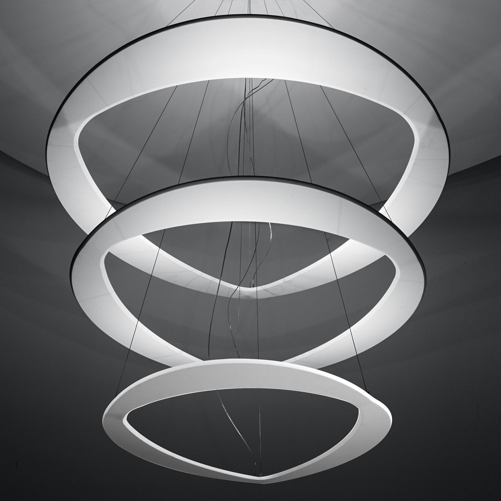 Biała designerska lampa wisząca Diadema z LED