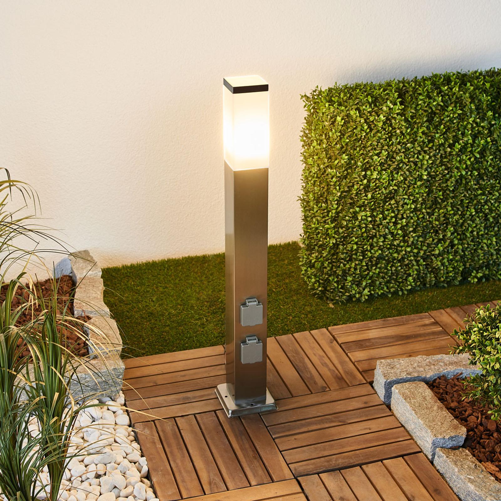 LED-gånglampa 400166, rostfritt stål med 2 eluttag